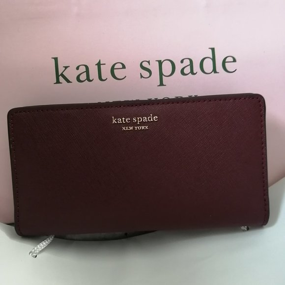New Kate Spade Eva Wallet on Chain Blac…